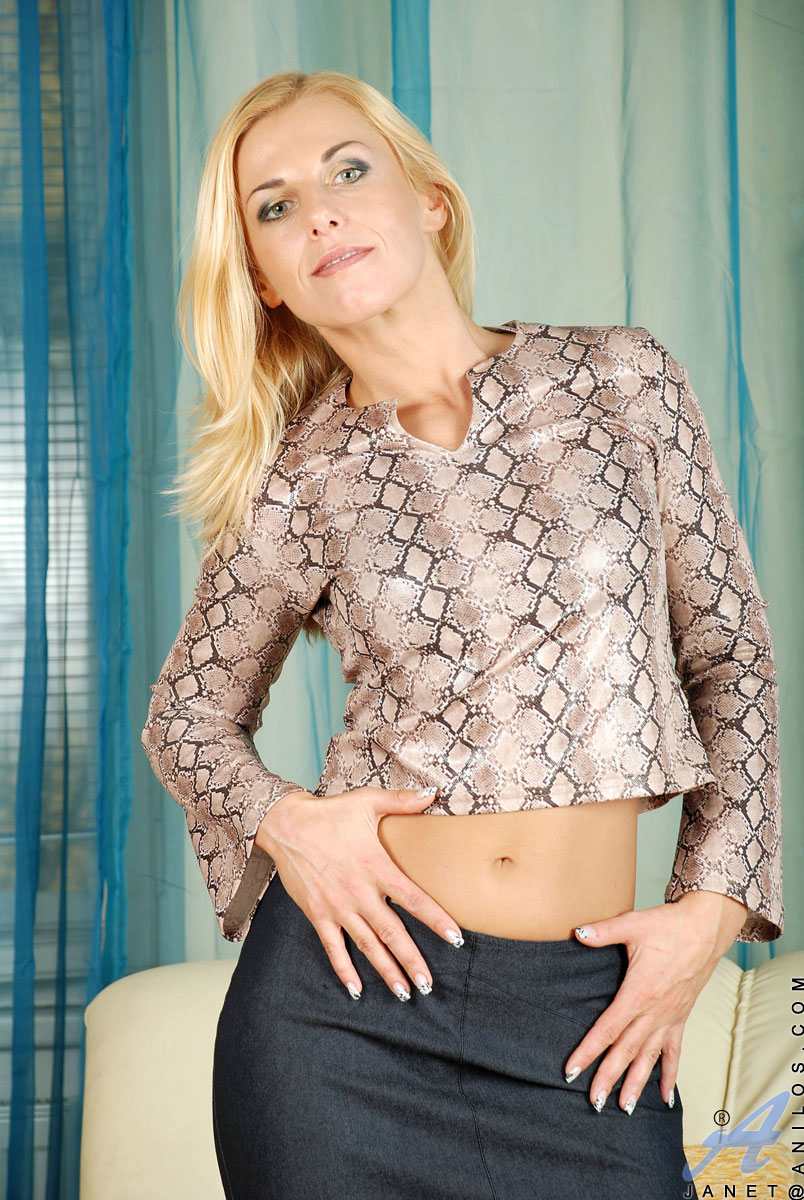 enticing blonde milf janet flaunts her tight cougar body in a sexy