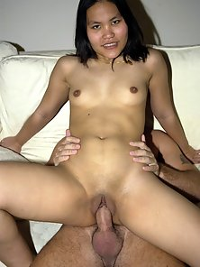 Shaved asian whore gets her pussy banged hard