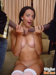 Interacial cum bucket with white girl