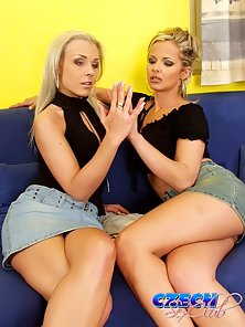 Two platinum blonde Czech vixens licking their pink pussies
