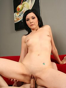 Dark haired hottie getting her pussy filled with her stepson