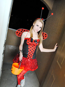 Cute trick or treater blonde teen with great boobs gives hot blowjob in Halloween outfit and shows h