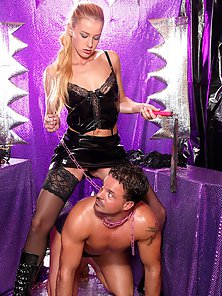Hot kinky blonde babe loves spanking her scared manslave