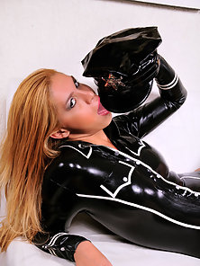 Big cock latex clad tranny cop