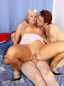 Blonde Teen Getting Deep Railed by Dude While Old Woman Licks Asshole