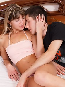 Wonderful teen sucking and fucking, them getting cumshot on her pretty face on the bed.