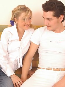 Tender blonde teen riding a long thick ramrod