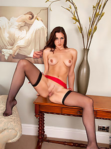 Cougar Ariel strips out of her gorgeous evening gown and teases her milf pussy