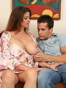 Big titted mom riding her stepsons cock like a real cowgirl