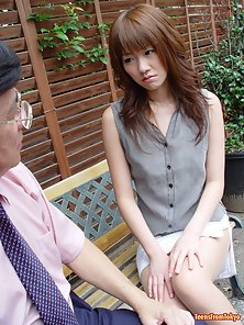 Japanese teen girl giving a rough sloppy blowjob