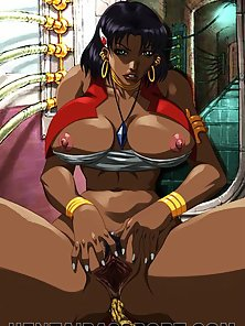 Passionate hentai black hooker riding a massive cock in a gangbang