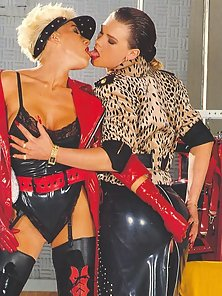 Three kinky retro lesbians toying eachothers tight slit