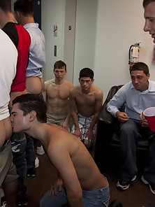 These three young college boys get naked in the shower!