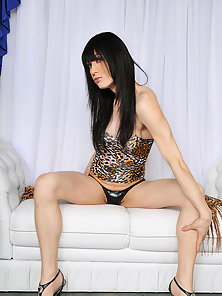 Shemale bomshell Isabella works her cock