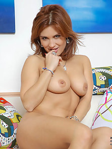 Totally naked valentine rush giggles on the camera checkout her tight perky legs