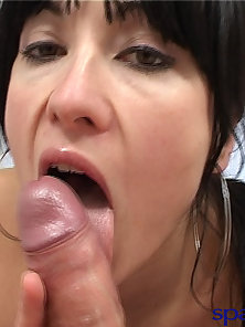 Hot brunette Latina gets naked and sucks the cum out of a lucky dick