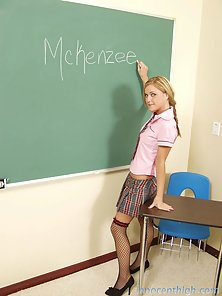 Naughty blonde nympho seduces her professor and swallows his load