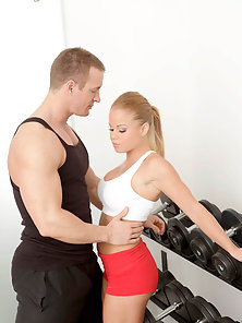 Hot ass blond in spandex gets stripped down and fucked after a workout