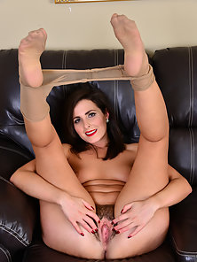 Brunette Stepmom Shows Her Hairy Pussy on Couch