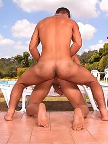 3 fit young guys fuck by the poolside