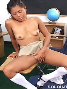 Arcadia Davida gets a little naughty in class and plays with her wet pussy