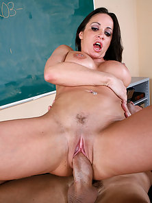 seductive brunette teacher lets the coach work her out