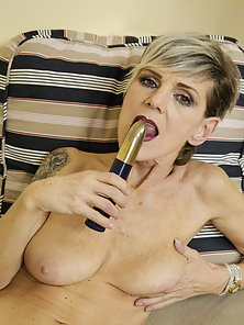 Older slim senior granny show off and adult toys