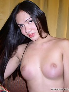 Tempting Asian shemale rubbing her massive pecker