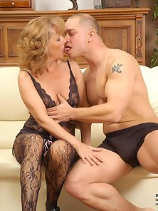 Cock hungry cougar gets fucked in multiple positions and sucks dick with skill and grace