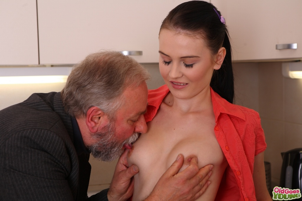 Old Man Sucking Young Tits