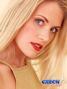 Glamorous blonde Czech vixen stripping and spreading her pink snatch