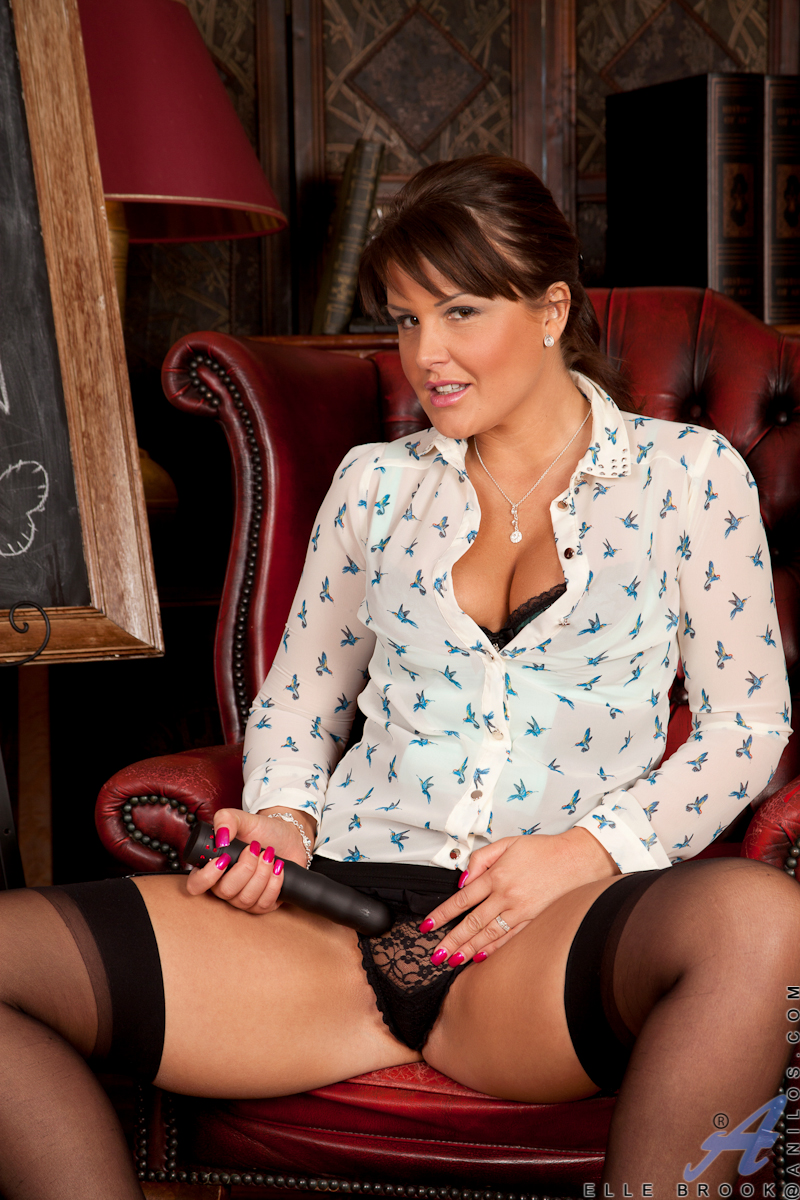 naughty teacher elle brook stuffs a black dong in her pussy - movie