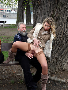 Stockings Wearing Babe Lifts Skirt and Rides Old Dude Dick on Bench