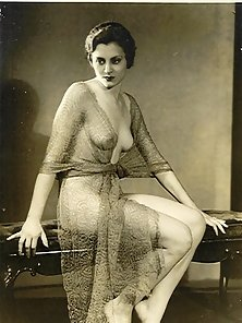 Several ladies from the thirties showing their fine goods