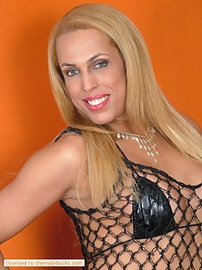 Blonde transsexual whore has nice tits in fishnet top