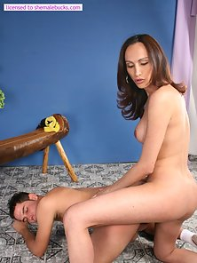 Leggy shemale sucks cock so well before doggying her dude
