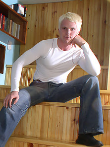 Blond boy Andrey strips and jerks