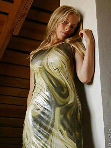 Sexy ljuba hottie is in a pretty long dress and she takes it off showing her puffy nipples off