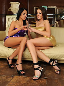 Drunk lesbian busty babes are inserting a bottle