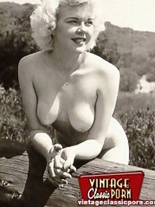 Several sexy vintage blonde girls posing nude everywhere
