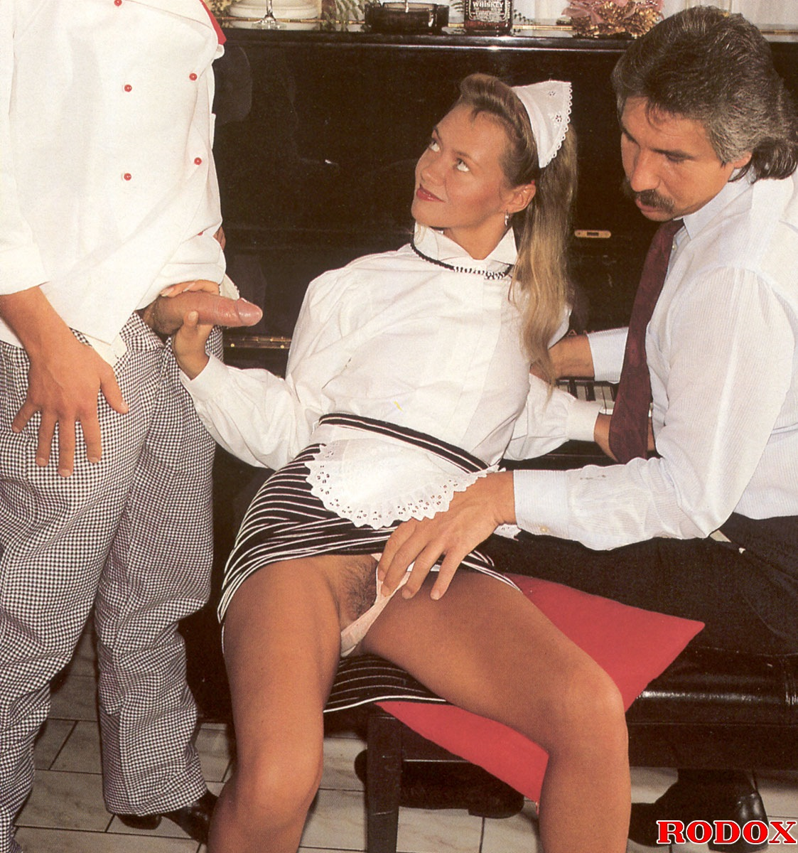 A Sexy Retro House Maid Banged By Two Horny Guys Hardcore -1489