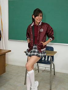 Adorable Latina teen schoolgirl in knee highs rides her teachers cock