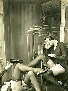 Sensual vintage ladies in sexy lingerie showing the goods