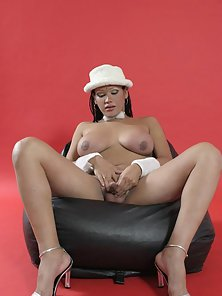 Fascinating brunette shemale teasing us with her giant cock