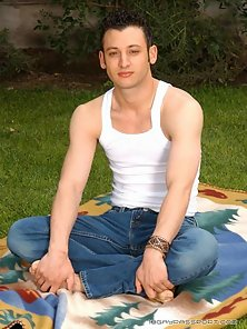 Handsome gay Xander spreading his sexy ass outdoors