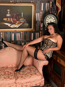 Mature in Net Stockings with Lingerie Shows Monster Melons