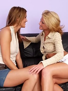 Amazing blonde lesbian licking a brunette`s honey tiny pussy