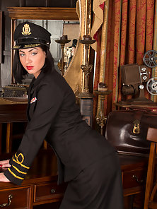Seductive flight attendant shows whats under her uniform