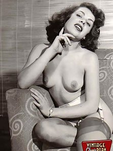 Real professional vintage naked models posing for camera