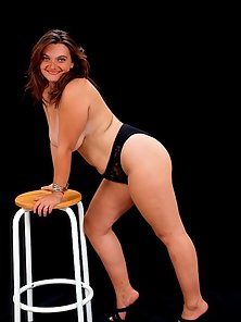 Fat Mature Brunette Posing and Bend Over in Black Undies
